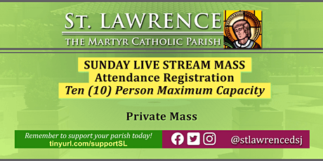 SUNDAY, July 19 @11:00 AM LIVE STREAM Mass Registration tickets
