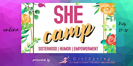 SheCamp - a Virtual Summer Camp for Girls ages 9-18! tickets