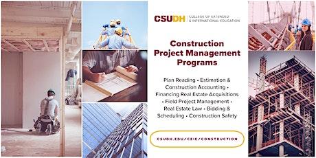 Info Session: Construction Project Management Programs | Webinar (8/15/20) tickets