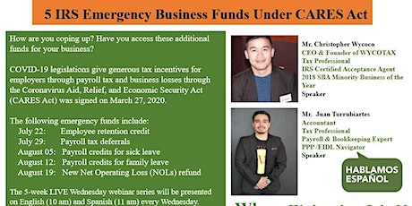 5 IRS Emergency Business Funds Under CARES Act tickets