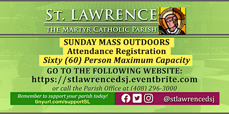 SATURDAY, July 18 @ 6:45 PM Vigil Mass Registration tickets