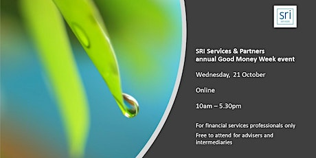SRI Services & Partners 'Good Money Week' event 2020  (FS industry only) tickets