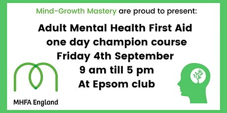 Adult Mental Health First Aid one day champion course tickets