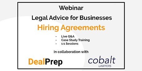 WEBINAR: Legal Advice for Businesses - Hiring Agreements tickets