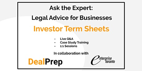 Ask the Expert: Legal Advice for Businesses - Investor Term Sheets tickets