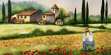Watercolor Landscapes the Easy Way - Poppy Field in Tuscany Tickets