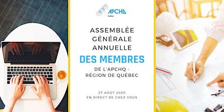 Assemblée générale annuelle 2020 VIRTUELLE des membres de l'APCHQ Québec billets