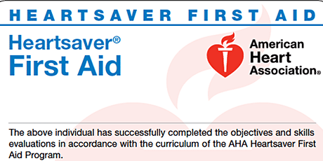 AHA Adult, Child, Infant CPR AED with First Aid tickets