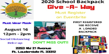 2020 School Backpack  GIVE-A-WAY tickets