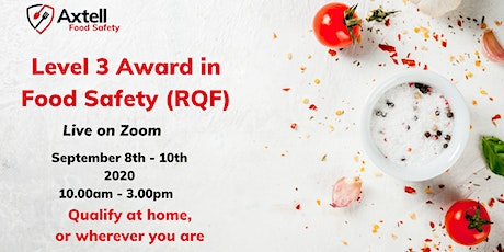Level 3 Award in Food Safety (RQF) on Zoom tickets