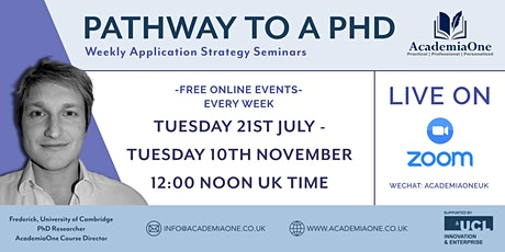 Pathway to a PhD: weekly application strategy webinar series tickets