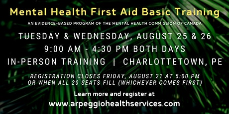 Mental Health First Aid Basic Training - Charlottetown, PE tickets