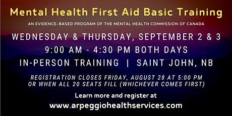 Mental Health First Aid Basic Training - Saint John, NB tickets