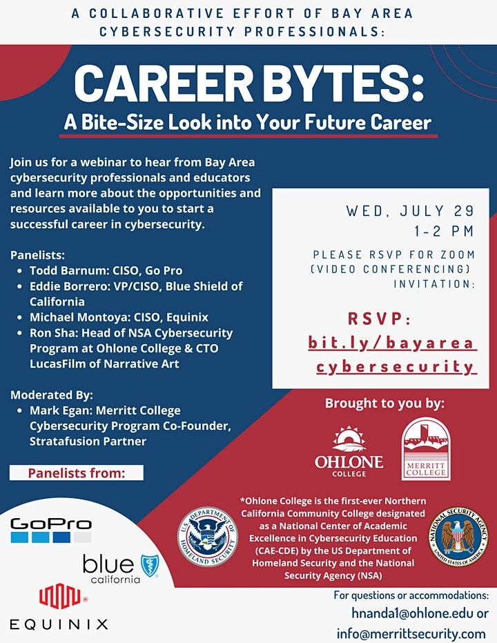 Career Bytes: Cybersecurity Panel - GoPro, Blue Shield & Equinix image