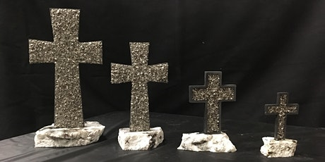 Crystal Recycled Granite Cross in various sizes tickets
