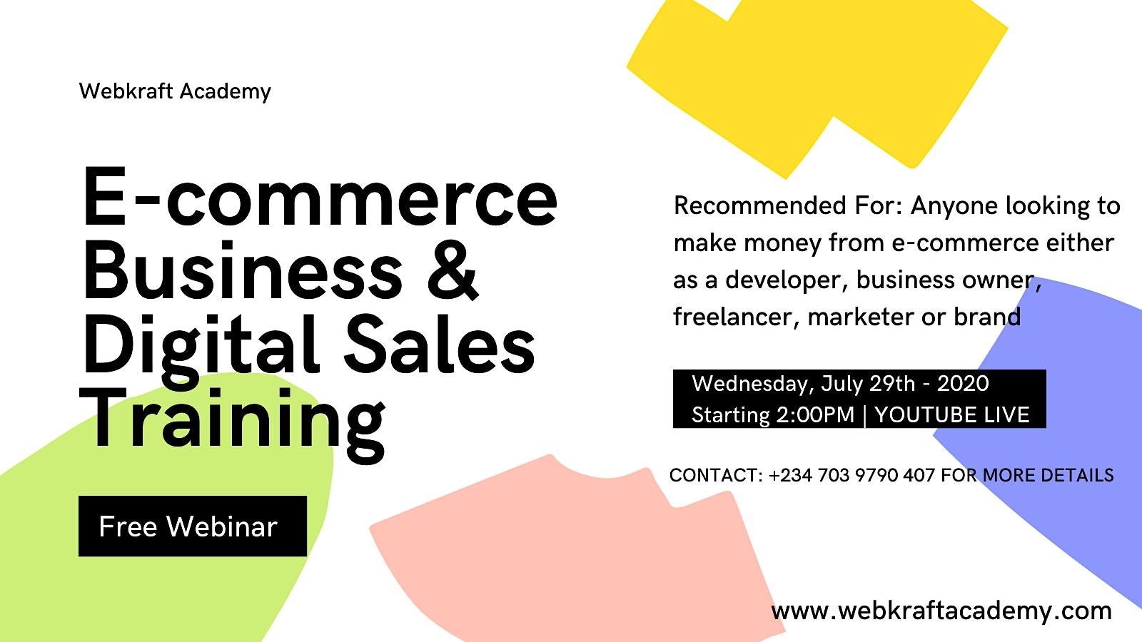 FREE E-commerce Business & Digital Sales Webinar Training For Entrepreneurs