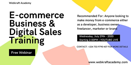 FREE E-commerce Business & Digital Sales Webinar Training For Entrepreneurs tickets