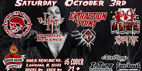 Sinister Fate, Extraction Point, Diabolic Menace, and PCB tickets