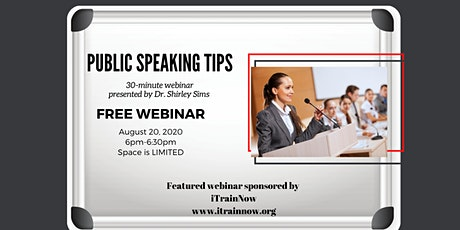 PUBLIC SPEAKING TIPS IN LESS THAN 30 MINUTES tickets