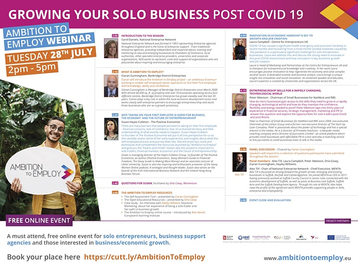 GROWING YOUR SOLO BUSINESS POST COVID - An Ambition to Employ event image