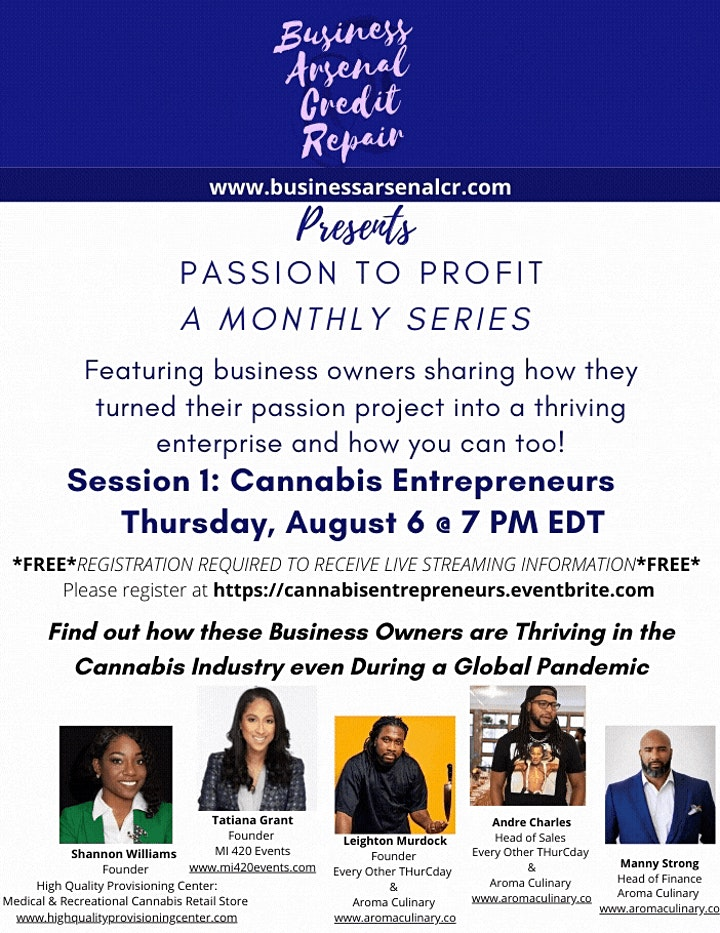 BACR Presents: Passion to Profit  Session 1 Cannabis Entrepreneurs image