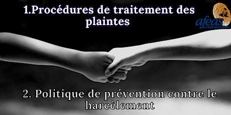 Procédures de traitement des plaintes / Politique de prévention harcèlement billets