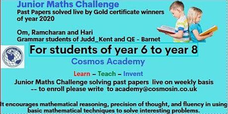 Junior Maths Challenge --Past Papers solved by Gold Certified students ! tickets