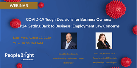 COVID-19 TDBO: EP24  Getting Back to Business: Employment Law Concerns tickets