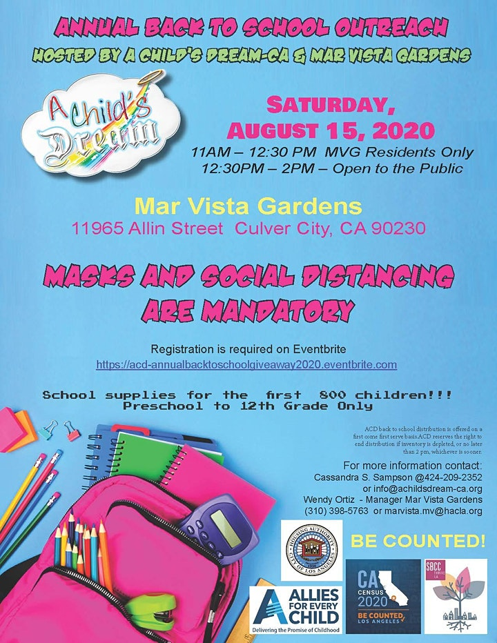 A CHILD'S DREAM-CA:  ANNUAL BACK TO SCHOOL GIVE-AWAY 2020- AUGUST 15, 2020 image