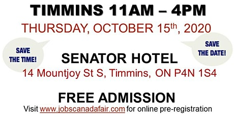 Timmins Job Fair - Thursday, October 15th 2020 tickets