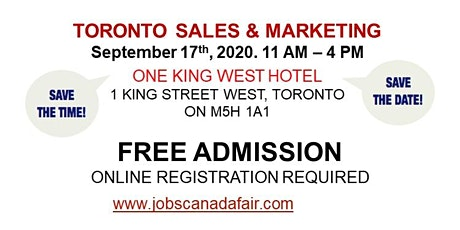 Toronto Sales & Marketing Job Fair - September 17th, 2020 tickets