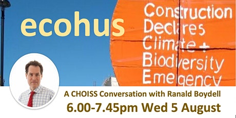 Ecohus:  Designing low impact homes Ranald Boydell 6.00pm-7.45pm Wed 5 Aug tickets
