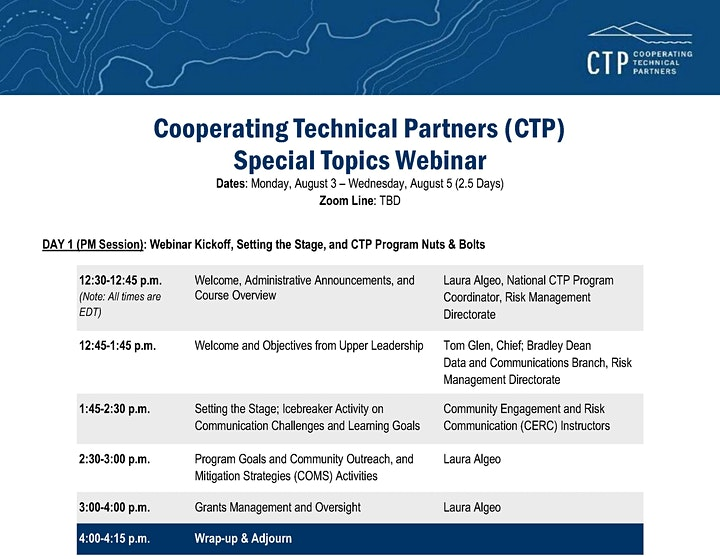 COOPERATING TECHNICAL PARTNERS (CTP): SPECIAL TOPICS (Virtual Course) image