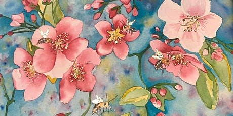 Watercolour class - Bees amongst the cherry blossoms (live painting class) tickets