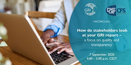 Masterclass: How do stakeholders look  at your GRI report (Europe/NorthAm.) tickets