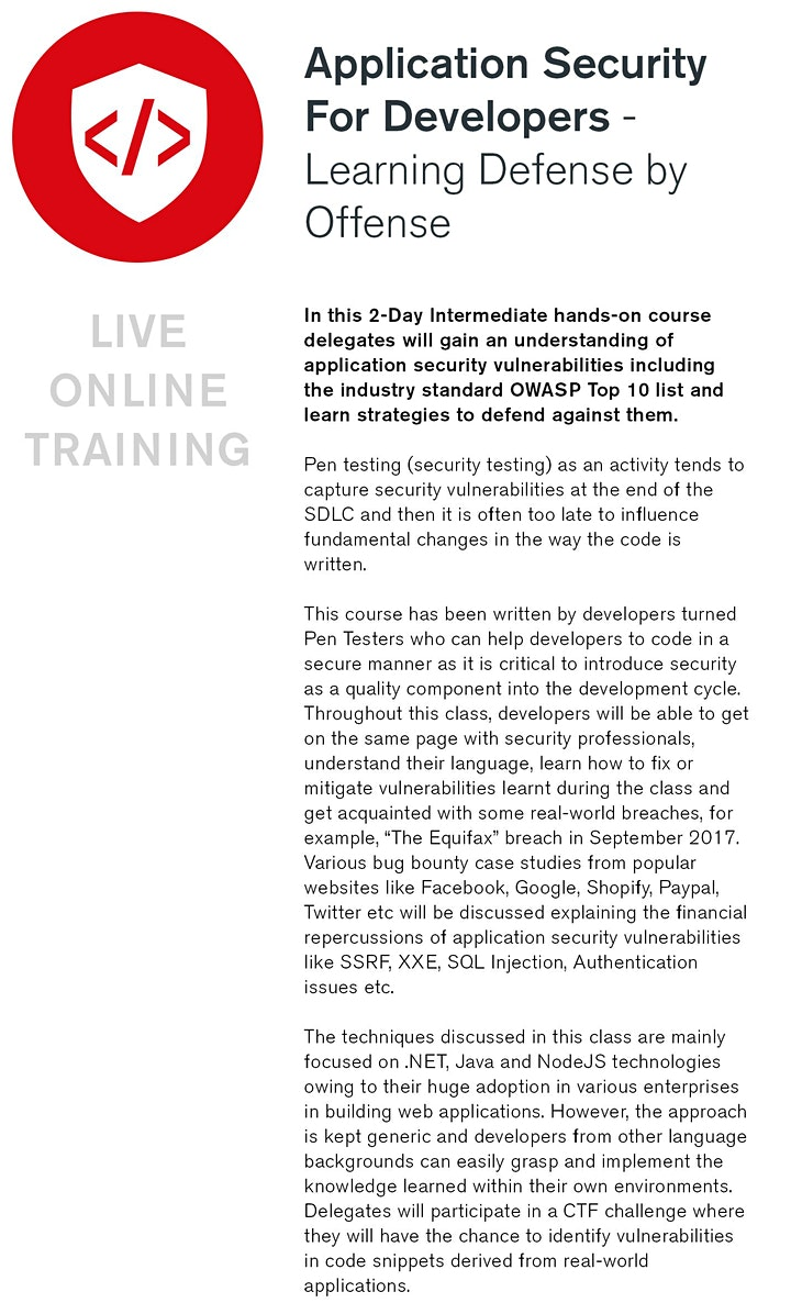 AppSec for Developers - Live Online Training image