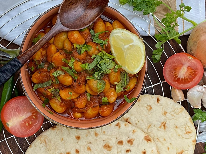 Butter bean curry and  coriander lemon rice image