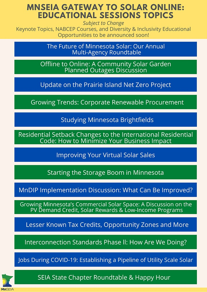 2020 MnSEIA Gateway to Solar Registration image