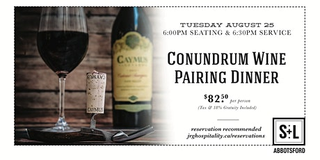 4 Course Conundrum Wine Pairing Dinner at S+L Kitchen & Bar Abbotsford tickets
