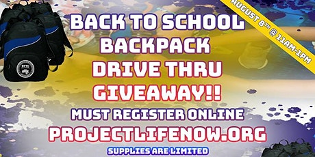 BACK TO SCHOOL BACKPACK DRIVE THRU GIVEAWAY tickets