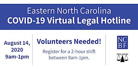 Eastern North Carolina COVID-19 (Virtual) Legal Hotline: Friday, Aug.14th tickets