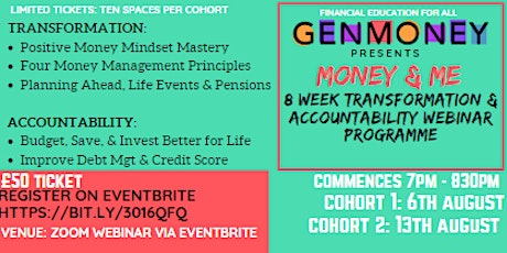 Money & Me - 8 Week Webinar Programme tickets