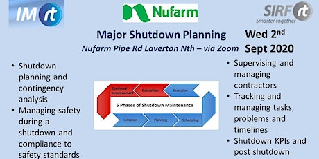 VICTAS Major Shutdown Planning - Nufarm Laverton - via Zoom tickets