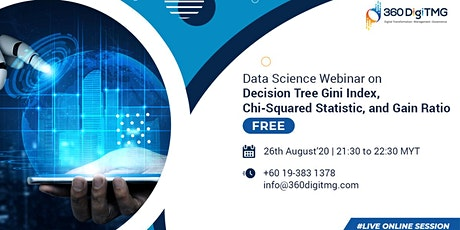 Decision Tree Gini Index, Chi-Squared Statistic & Gain Ratio on 26th Aug (1 tickets