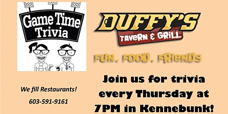 Game Time Trivia at Duffy's Tavern in Kennebunk Maine tickets