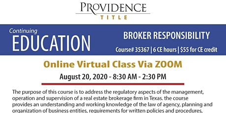 Broker Responsibility (Course #35367 | 6 CE hours) Tickets
