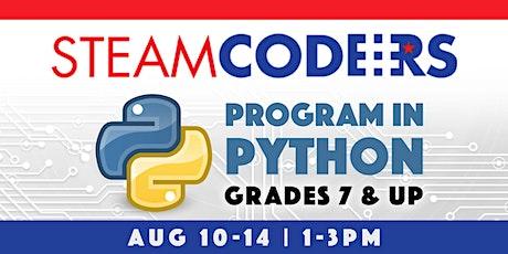Program in Python | Grades 7 and Up | STEAM:CODERS Online tickets