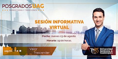 Sesión informativa virtual de posgrados boletos