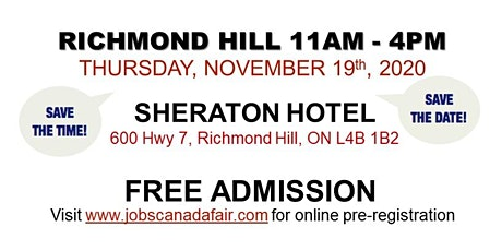 Richmond Hill Job Fair - Thursday, November 19th 2020 tickets
