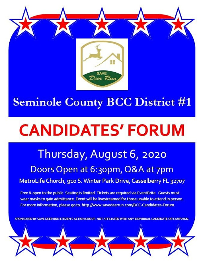 Save Deer Run Seminole BCC District 1 Candidates' Forum image